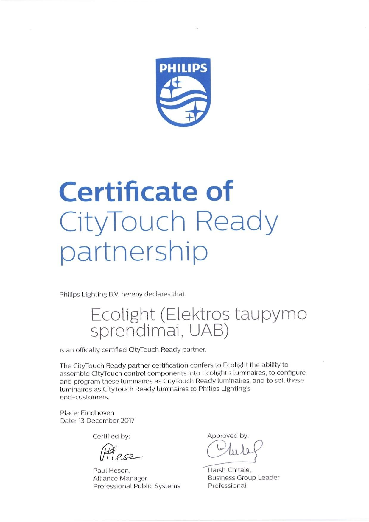 CityTouch Ready Certificate