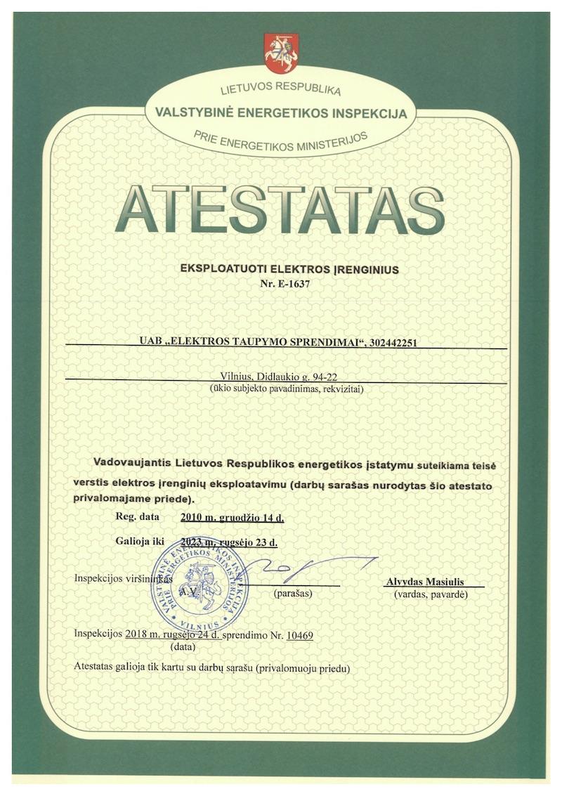 ECOLIGHT VEI certificate