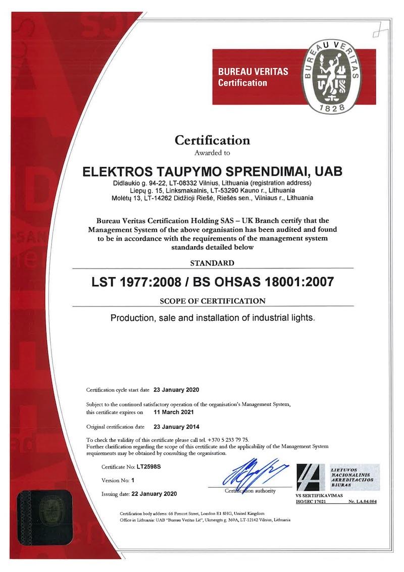 ECOLIGHT OHSAS 18001