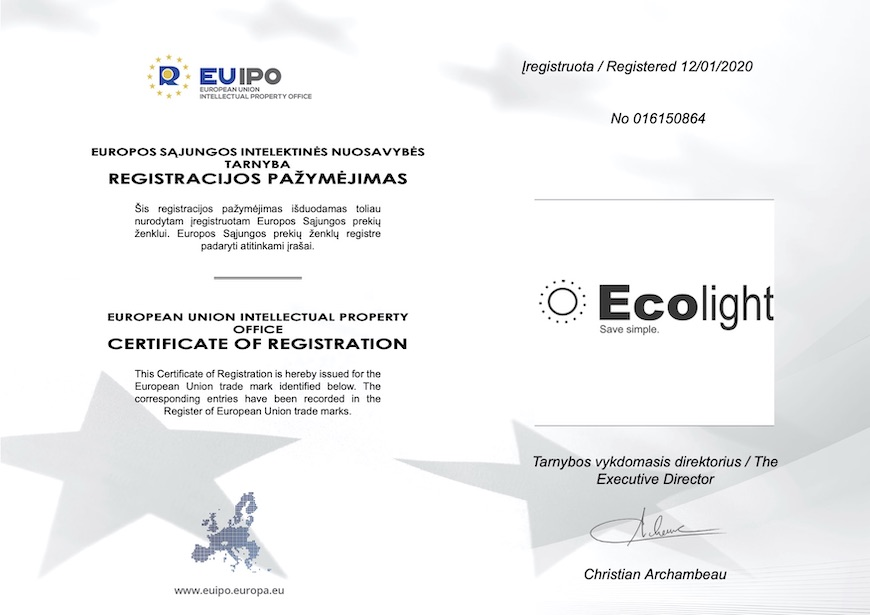 "January the 14th, 2020, was a great day for both Ecolight and all our partners worldwide. After prolonged legal disputes with a similarly named Italian company, the European Union Intellectual Property Office (EUIPO) ruled in our company's favour: our ownership of the Ecolight EU trade mark was acknowledged, and its continued use allowed. Story in a Nutshell Our long-term partners might be surprised that there ever even was a legal dispute concerning the ownership of the trade mark. After all, we have been using the brand name Ecolight since 2011. After a decade had passed, the trade mark became synonymous across Europe with our ultra-efficient, yet reasonably priced LED luminaires. The story took an unexpected twist in 2017. When we filed for a European Union trade mark at the EUIPO, we considered the process to be a mere formality. What transpired, however, was that there was a similarly named Italian company that was not happy about our application. This company protested our application arguing that they were in fact the rightful owners of the trade mark. Happy Ending ""We want to thank our lawyer Mr. Irmantas Balsys for the excellent legal representation in this case,"" Ecolight's CEO Tomas Pukas expressed his gratitude, ""We managed to prove that, in the world of LED luminaires, there is only one true Ecolight, and that's us."" After a complicated legal process that had lasted about three years, EUIPO gave a final and non-appealable judgement that accepted and legitimized our ownership of the European trade mark. EUIPO rejected the Italian company's protest arguing that, despite an earlier date of registration in the same Nice class, they have never produced luminaires, nor have they been otherwise active in the business area covered by the Nice class in question. ""EUIPO was made to see that the Ecolight manufacturing company is widely recognized among lighting industry professionals across the Old Continent, and that it is the only company in Europe that carries this name and actively uses it in the lighting sector,"" Mr. Irmantas Balsys, the victorious lawyer, explained, ""I hope that the success of Ecolight will inspire other Lithuanian companies to stand their ground and protect their brands."" Back to Work According to Tomas Pukas, the legal victory is especially important for Ecolight's distributors operating in different European markets: ""Their clients have learned to appreciate Ecolight as a name that is synonymous with reliable and cost-effective LED lights, so it makes us very happy to be able to reassure them that the name is now officially and unquestionably ours, and that we can all go back to work with peaceful minds."" The story was covered by Lithuanian's leading business news outlet Verslo žinios: https://www.vz.lt/rinkodara/2020/03/02/ecolight-neistiko-coffee-inn-likimas ECOLIGHT Trade Mark EU registration ECOLIGHT Trade Mark EU registration"