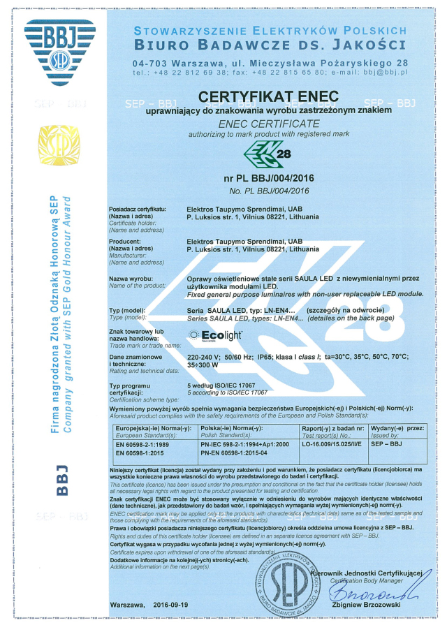 ENEC certificate ECOLIGHT